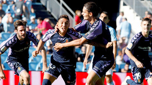 Leo Suárez celebra el gol el empate.