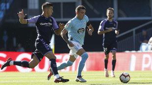 Aspas durante el partido ante el Valladolid.