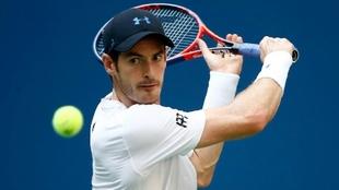 Andy Murray, a punto de rematar ante Fernando Verdasco en el US Open.