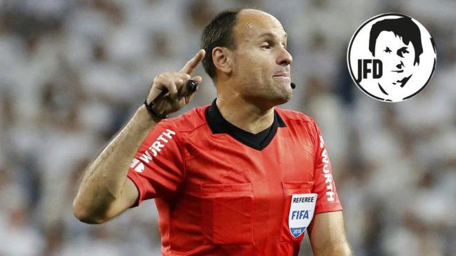 Mateu Lahoz, en el Bernabéu.