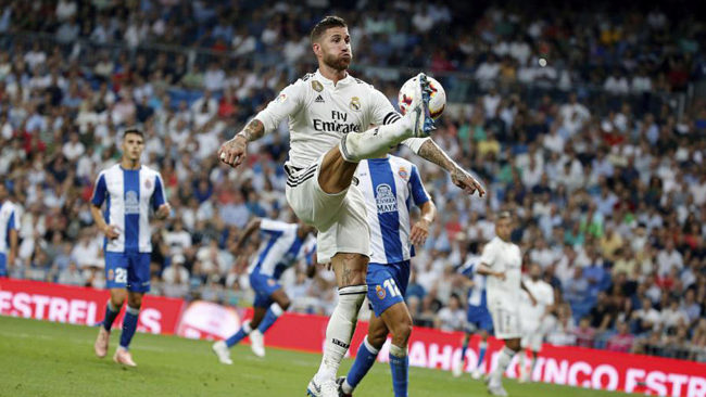 Real Madrid's Spanish defender Sergio Ramos.