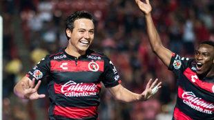 Erick Torres celebra el gol de la victoria de Xolos sobre Pachuca
