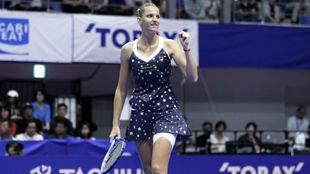 Karolina Pliskova celebra una victoria en Tokio.