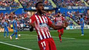 Lemar celebra su gol en Getafe.