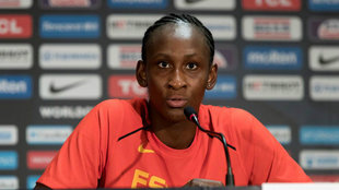 Astou Ndour, en una rueda de prensa durante el Mundial.