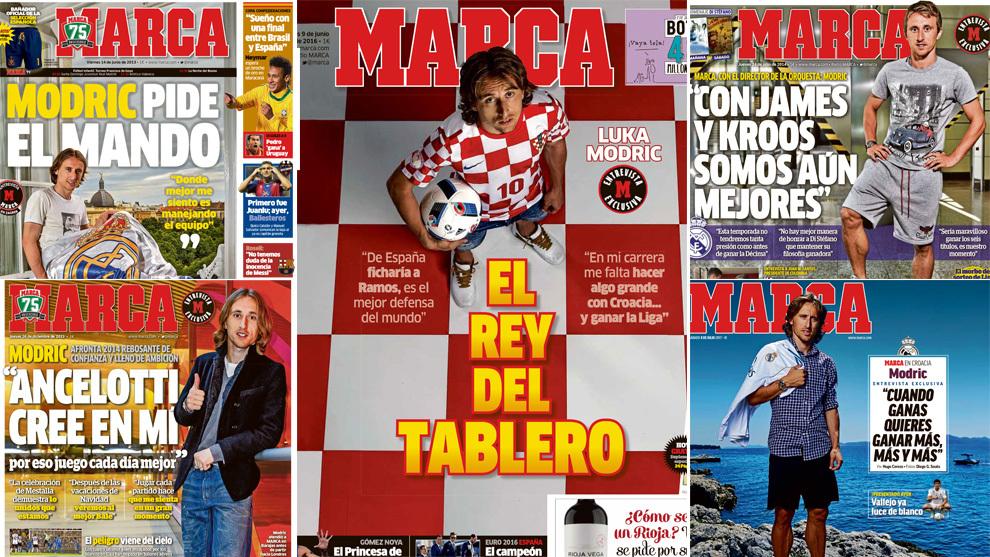 Las cinco portadas con las respectivas entrevistas de Modric en MARCA