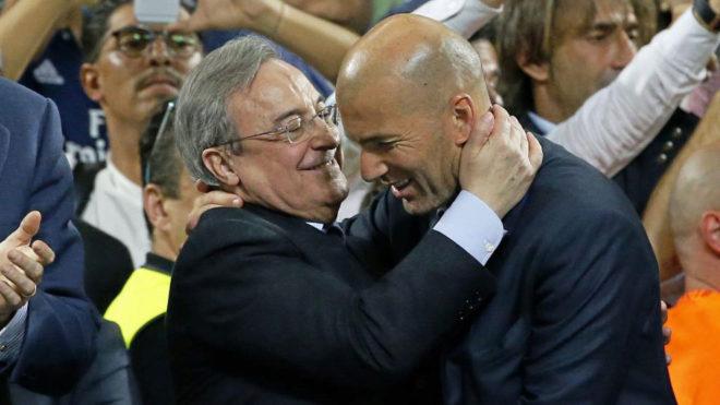 Florentino Perez and Zinedine Zidane.