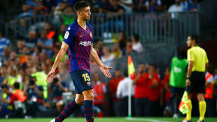 Langlet, después de ser expulsado en el Barça-Girona
