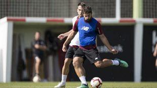Villalibre es habitual en los entrenamientos del primer equipo.