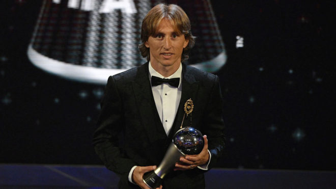 Luka Modric with his The Best award.