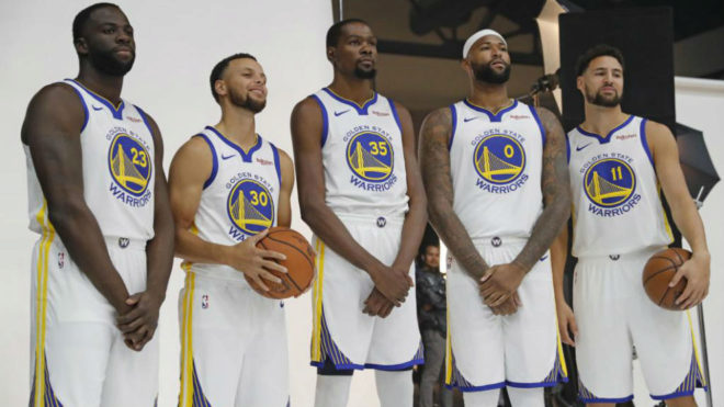 Draymond Green, Stephen Curry, Durant, Cousins y Klay Thompson en el...