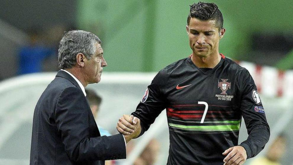 Fernando Santos y Cristiano Ronaldo.