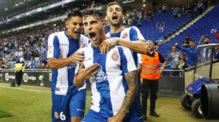Hermoso celebra el gol de la victoria frente al Eibar.