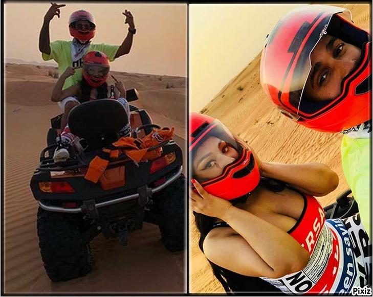 Lewis Hamilton y Nicky Minaj montando en quad... sacando el dedo de la...