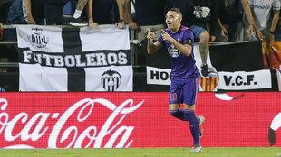 Iago Aspas celebrando el tanto del empate contra el Valencia.