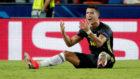 Cristiano Ronaldo, tras su expulsión en Mestalla.