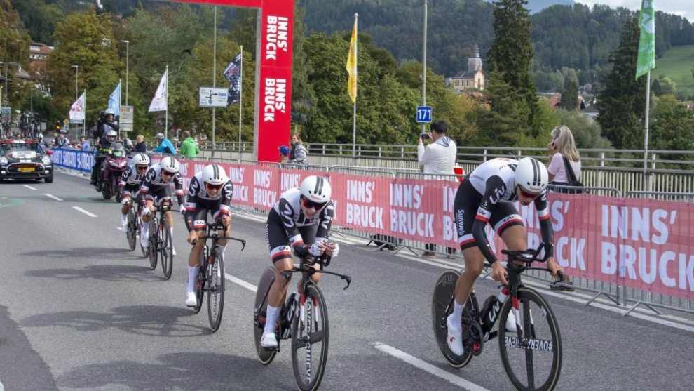 Team Sunweb, en la crono por equipos del Mundial de Innsbruck.