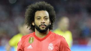 Marcelo durante el partido ante el Sevilla.