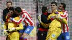 Courtois, emocionado tras el título conseguido por el Atlético