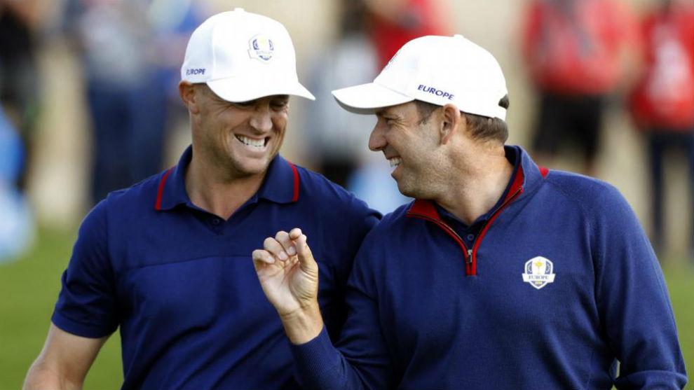 Sergio García y Alex Noren celebran su triunfo.