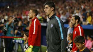 Oblak y Courtois, antes de un Atlético-Chelsea.