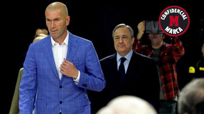 Zidane y Florentino Pérez, en un acto del club