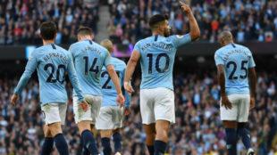 Agüero celebra su gol al Brighton