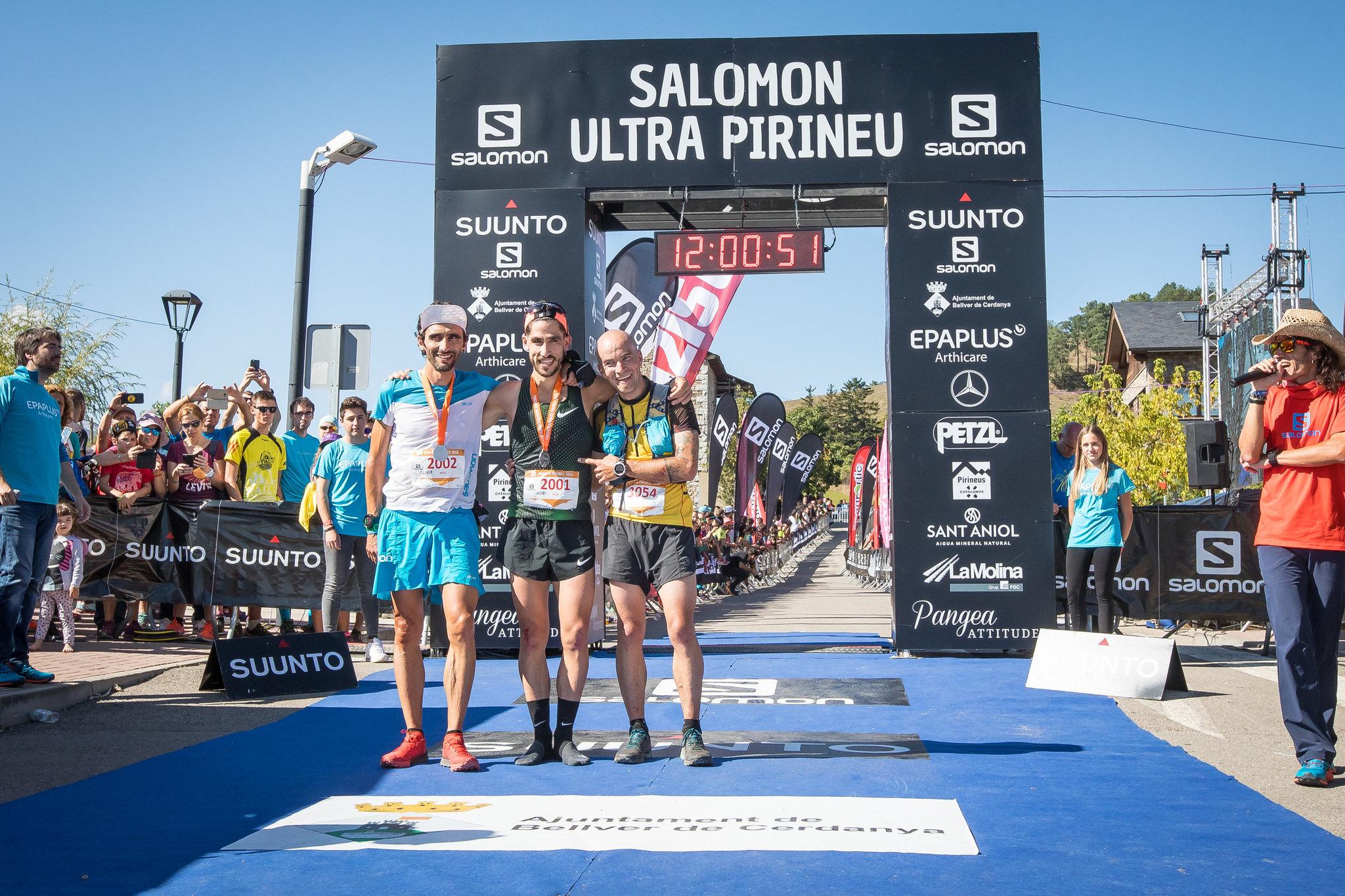 Podio de la Marató Pirineu: Aritz Egea, Pablo Villa y Miguel...