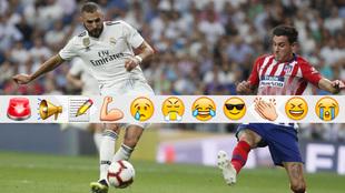 Benzema trata de rematar ante la oposición de Giménez