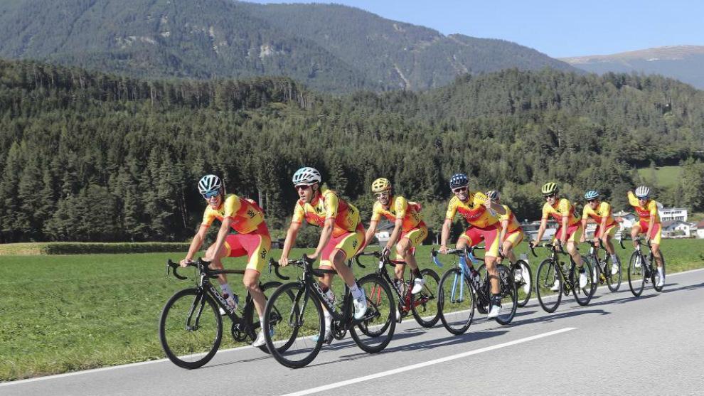 La selección española entrena en Innsbruck