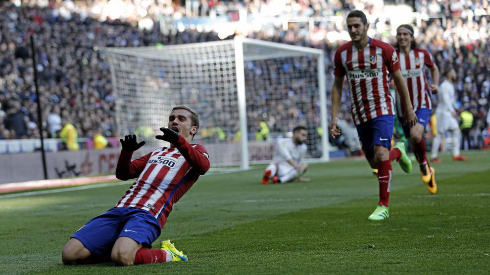 Griezmann celebrates a goal against Real Madrid