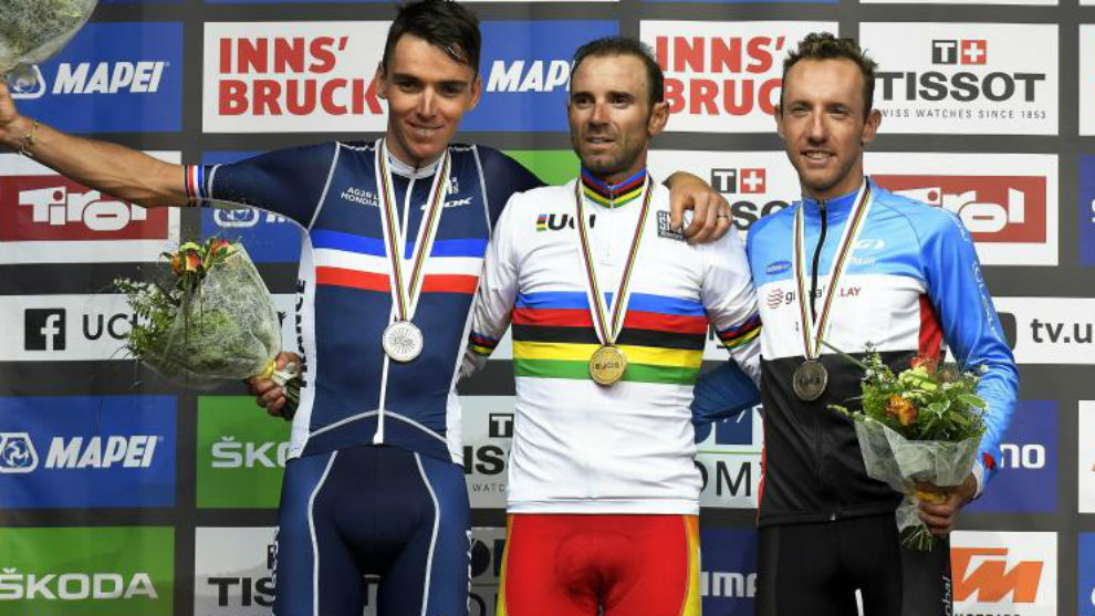 El podio de Innsbruck con Valverde, Bardet y Woods.