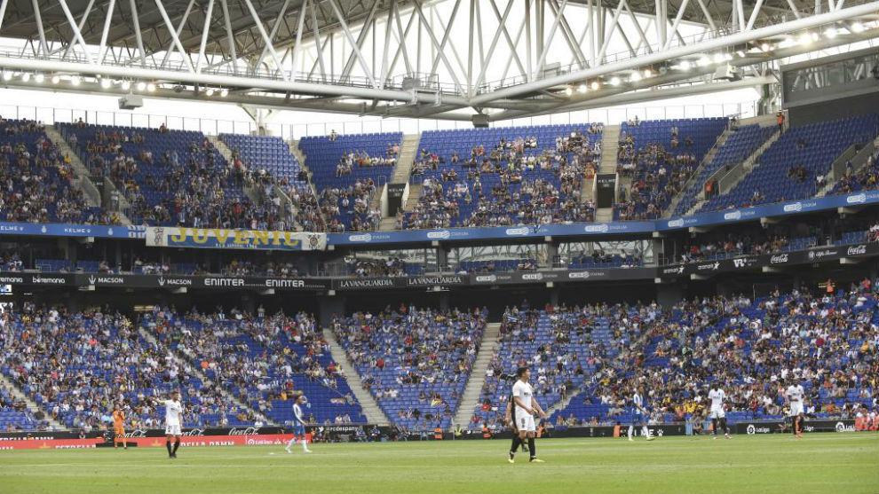 Imagen del RCDE Stadium durante un encuentro