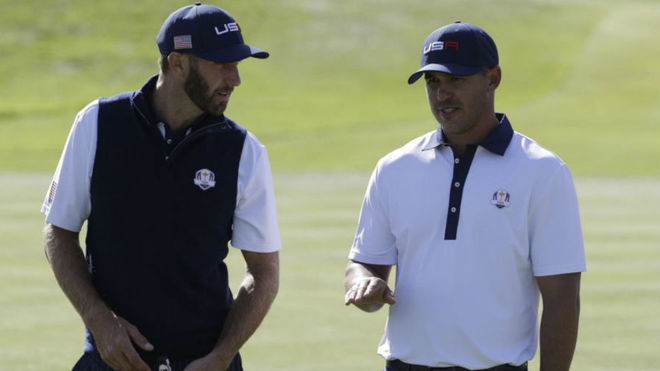Dustin Johnson y Brooks Koepka, en la Ryder Cup.