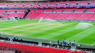 Aspecto del pasto de Wembley a pocas horas del inicio del partido.