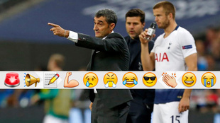 Valverde da órdenes a sus jugadores en Wembley