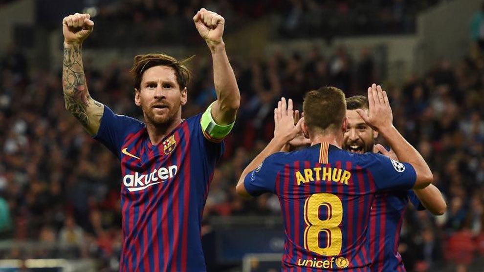 Lionel Messi celebrates a goal at Wembley.