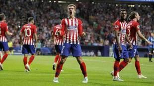 Griezmann celebra uno de los dos goles que marcó ante el Brujas.