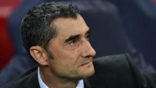 Valverde, en el banquillo de Wembley.