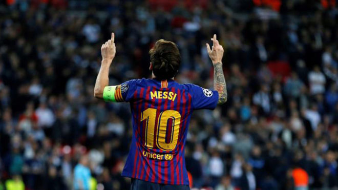Messi celebrates hissecond goal during the match between Tottenham...