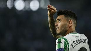 Sanabria celebra su gol al Dudelange.