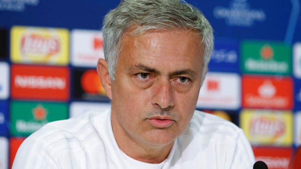Mourinho attends a press conference at Old Trafford stadium