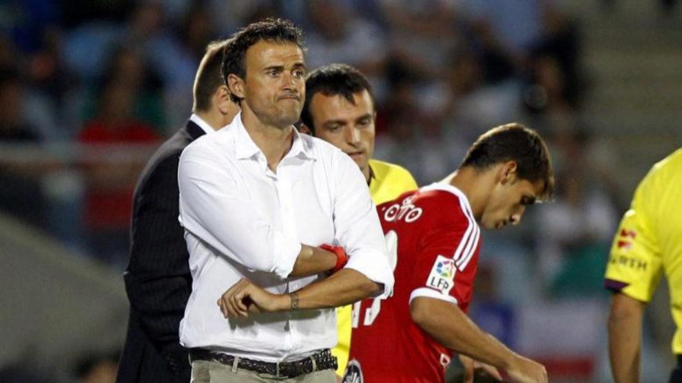 Luis Enrique en su etapa como entrenador del Celta junto con Jonny.