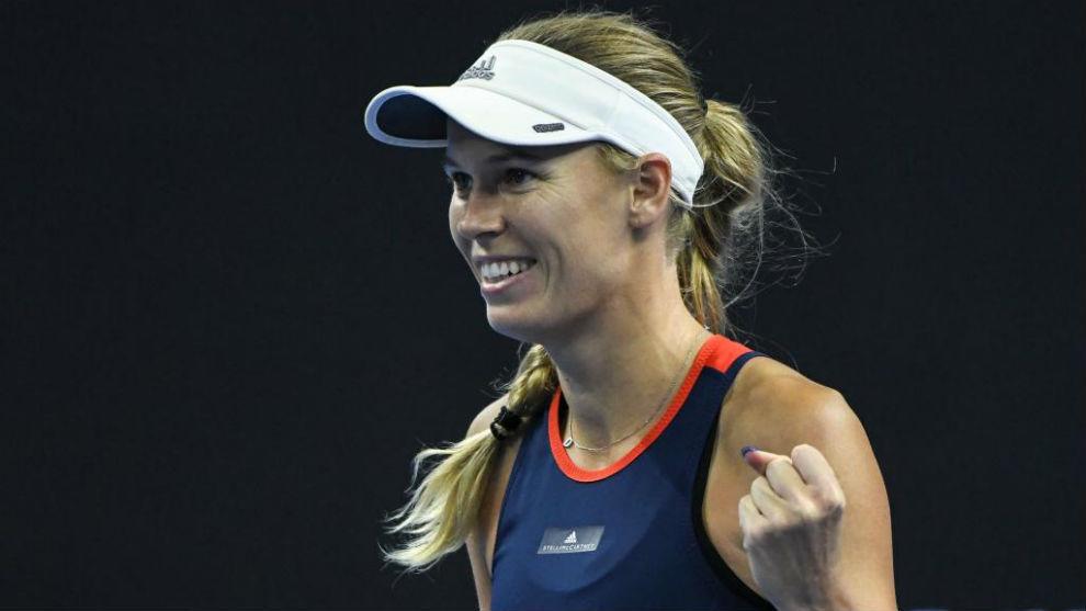 Caroline Wozniacki celebra una victoria en Pekín.