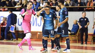 Borja celebra el segundo gol del Movistar Inter.