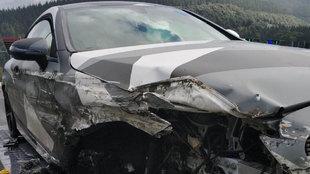 Así quedó el coche en el que viajaba Wakaso.