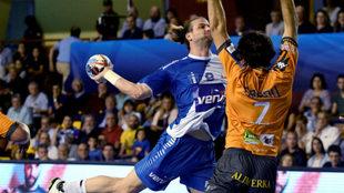 Nacho Moya, en el partido disputado el sábado en León ante el Ademar...