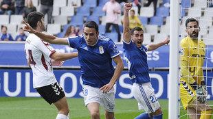 Ramón Foch celebra su gol al Albacete, el del primer triunfo en casa