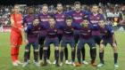 El once inicial del Barcelona ante el Valencia en Mestalla.