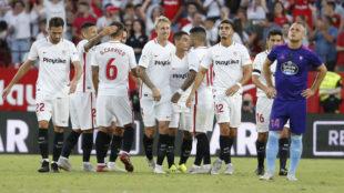 El Sevilla celebra uno de sus goles contra el Celta.